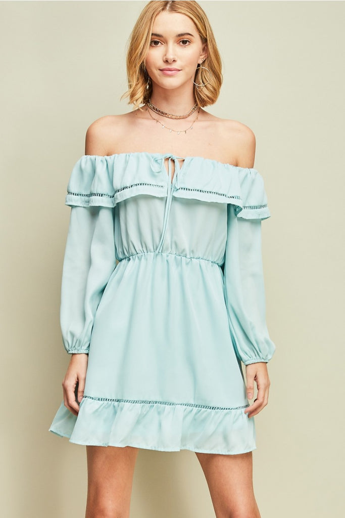 Off the Shoulder Ruffle Detail Dress