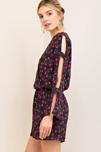 Floral Romper with Cutout Sleeves
