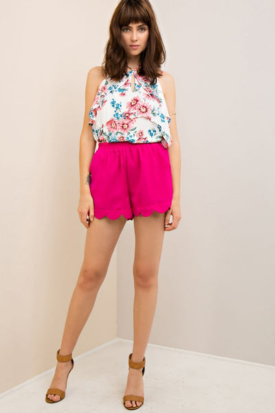 Shorts with Scallop Hem