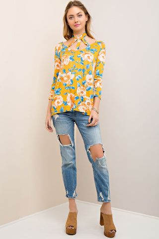 Floral Print Top with Front Cutouts