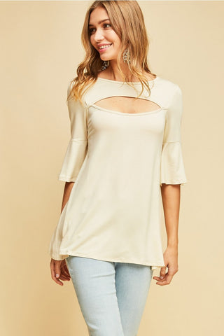 Scoop Neck Top with Front Cut Out