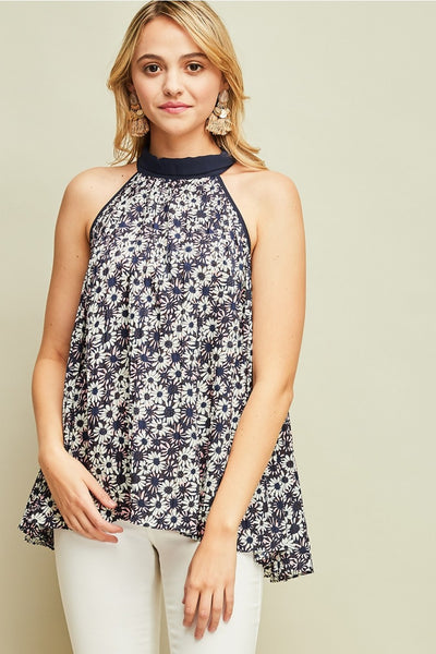Floral Print Halter Neck Top