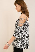 Floral Print Open Shoulder Top Featuring Self Tie Detail