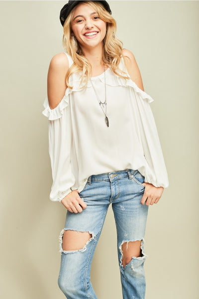 Open Shoulder with Ruffle Detail Top