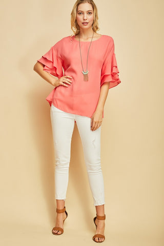 Round Neck Top with Ruffled Sleeves