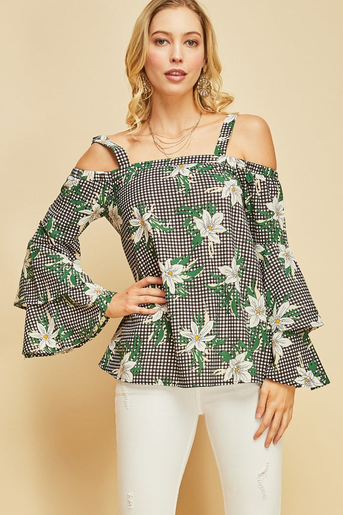 Gingham Floral Print Off the Shoulder Top Featuring Tiered Bell Sleeves