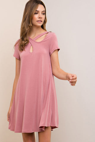 Short Sleeve Shift Dress Featuring Front Wrap Cutout