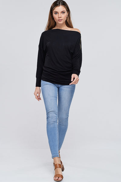 Boat Neck Top with Zipper Detail