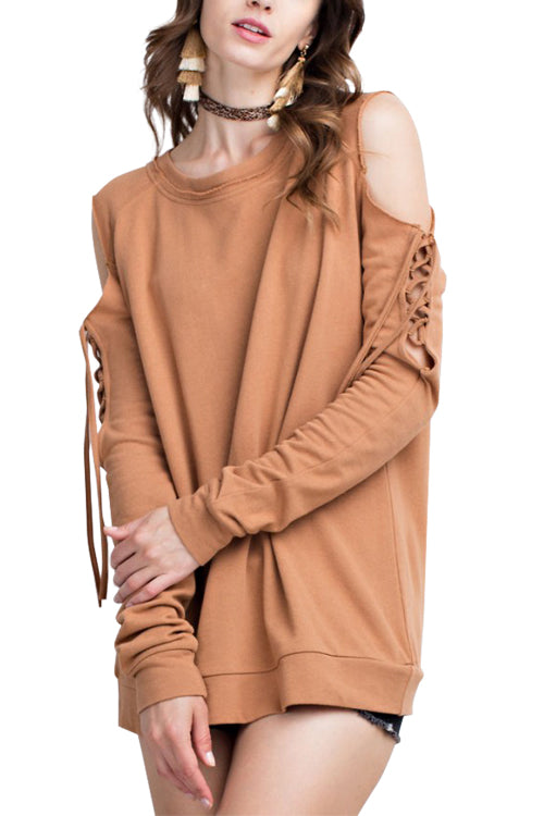 Cold Shoulder Lace Up Sweatshirt