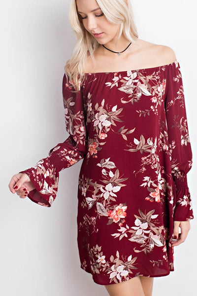 Floral Print Ruffle Sleeve Off the Shoulder Dress