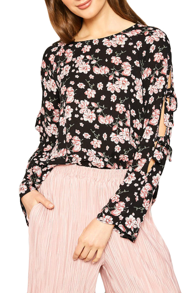 Floral Print Top with Open Sleeve Detail