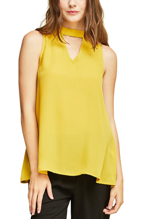 Mock Neck Cut Out Detail Top