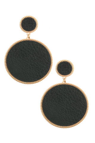 Faux Leather Round Drop Dangle Earrings