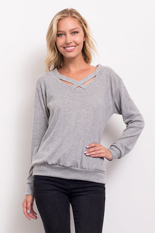 Long Sleeve Crisscross Detail Sweatshirt