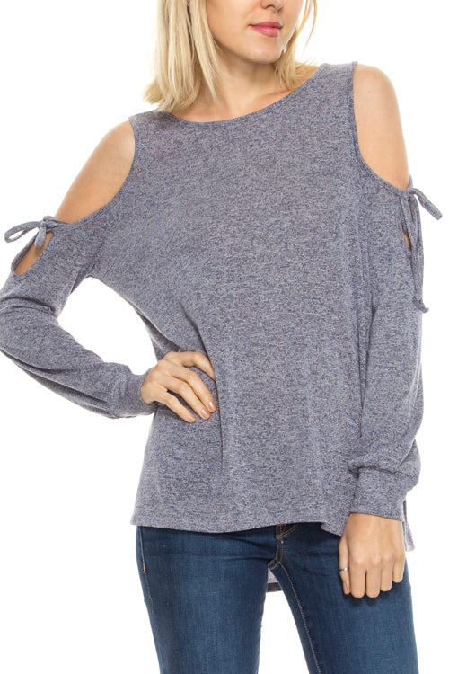 Open Shoulder Sweater With Tie Detail
