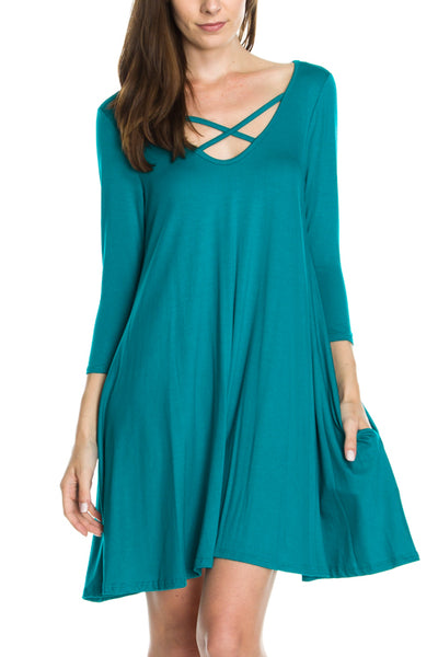 Trapeze Dress With Front Crisscross