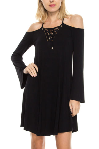 Lace-up Neckline Cold Shoulder Dress