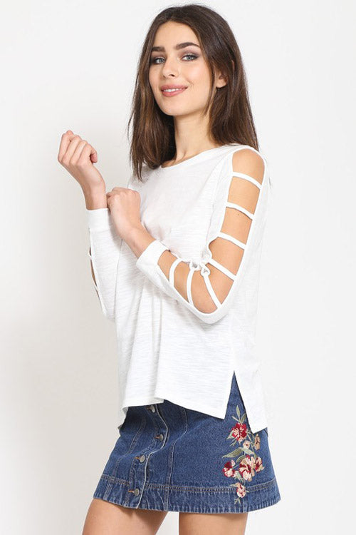 Ladder Cut Out Sleeve Detail Top