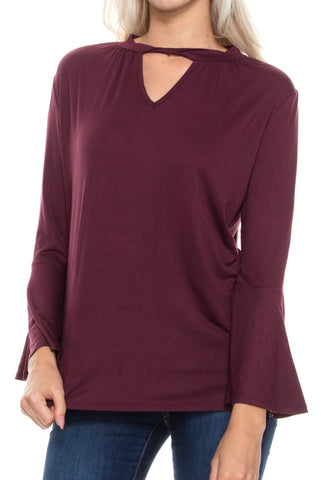 Plus Size Twisted Neck Bell Sleeve Top