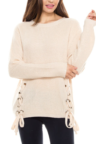 Lace Up Side Knit Sweater