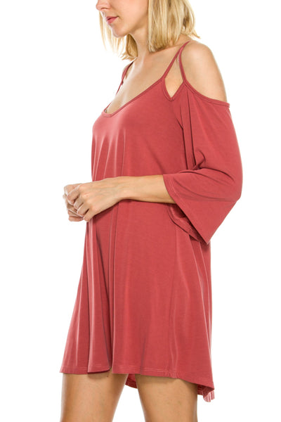 Cold Shoulder 3/4 Sleeve Length Dress