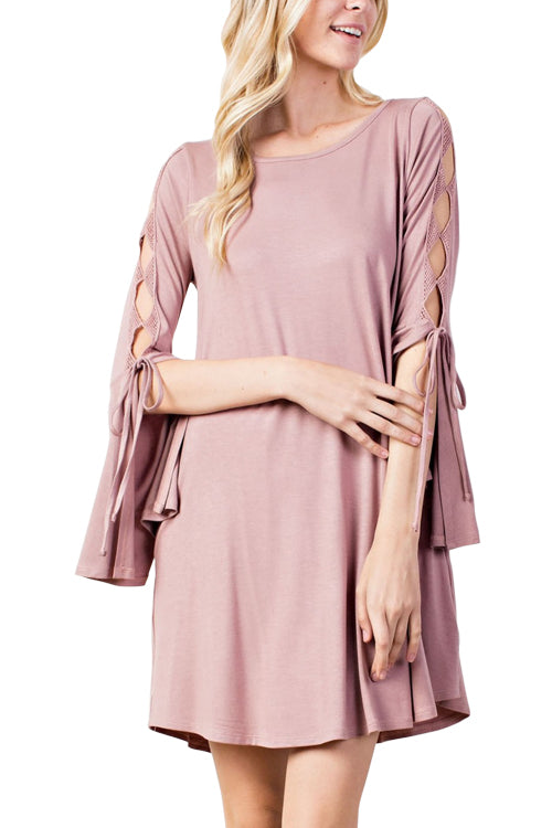 Open Tie Sleeve Dress