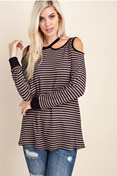 Striped Cut Out Cold Shoulder Top