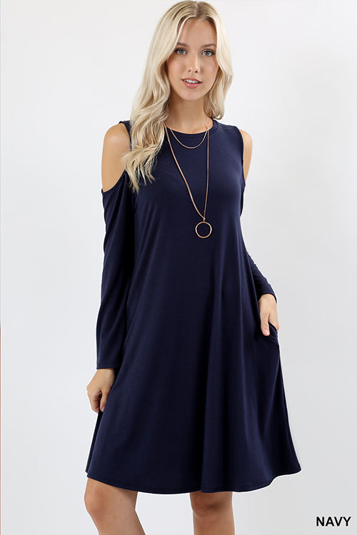 Cold Shoulder Long Sleeve Dress with Pockets