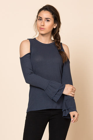 Double Ruffle Long Sleeve Cold Shoulder Top
