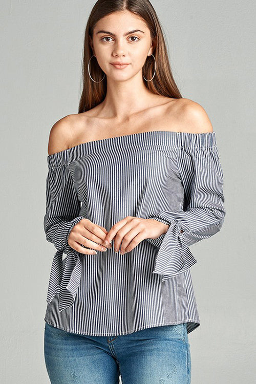 Vertical Stripe Off the Shoulder Top
