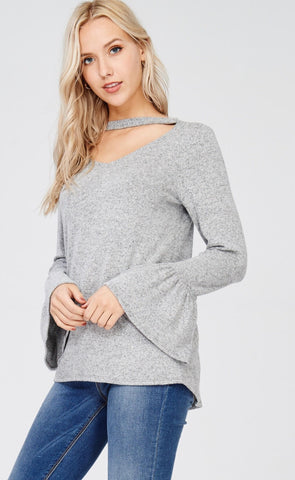 Mock Neck Top with Bell Sleeves