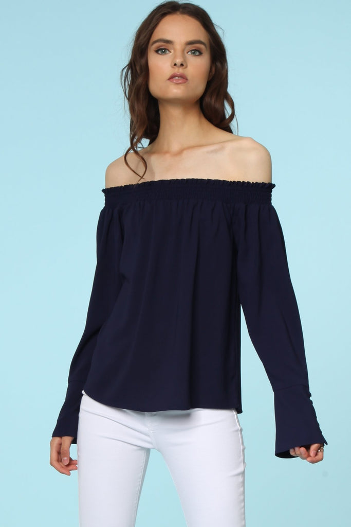 Off the Shoulder with Button Sleeve Blouse