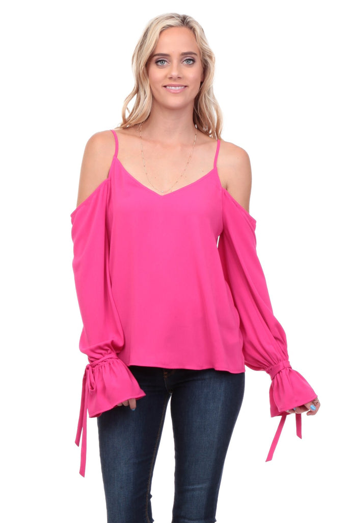 Cold Shoulder Blouse with Tie Sleeves