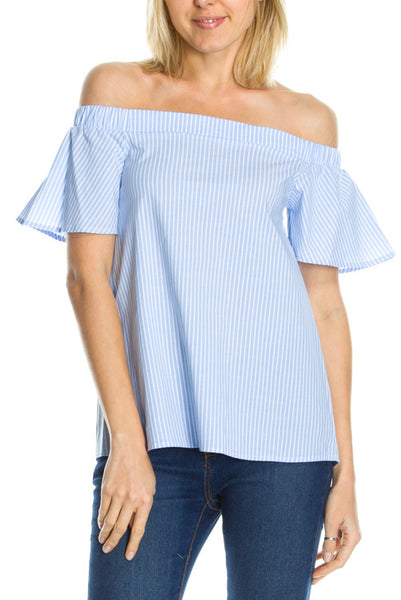 Off the Shoulder Stripe Ruffle Sleeve Top