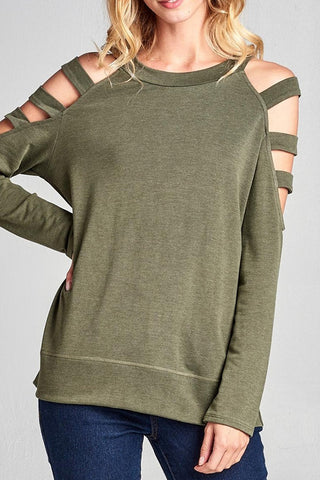 Ladder Cut Out Sleeve Sweatshirt