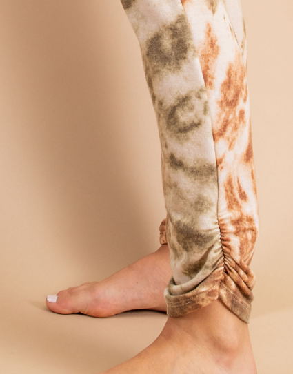Tie Dye Joggers with Shirring Detail