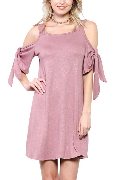 Cold Shoulder Dress with Tie Sleeves