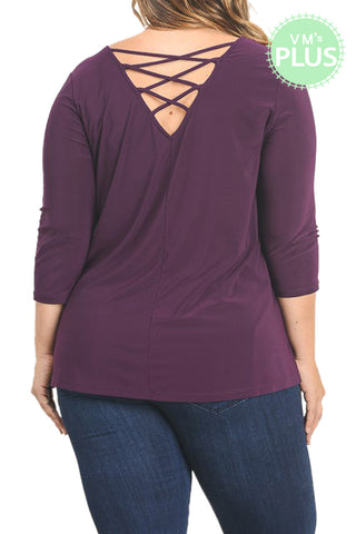 Scoop Neck Knit Top With Back Crisscross