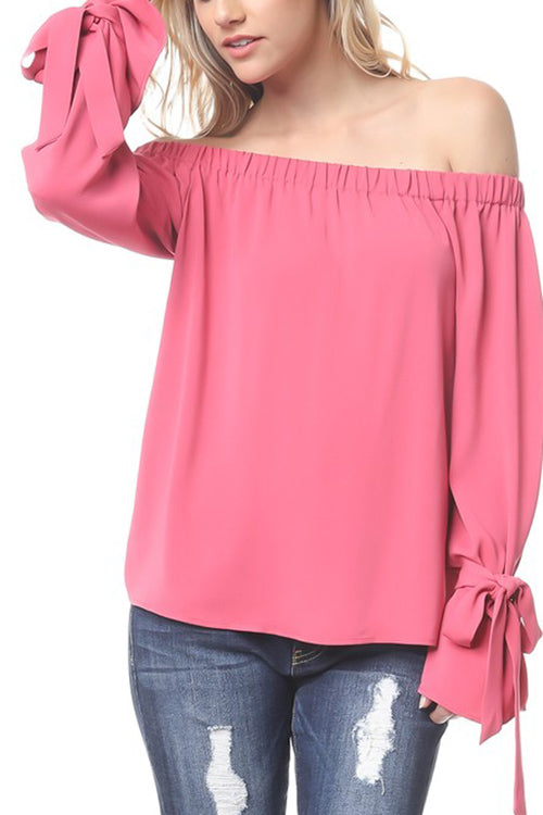 Off the Shoulder Blouse with Tied Sleeves