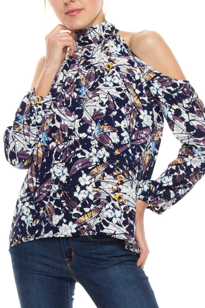 Cold Shoulder Floral Print Mock Neck Top