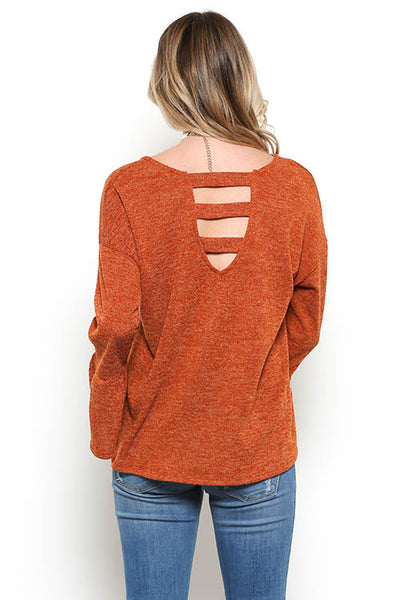 Back Strap Top with Bell Sleeves