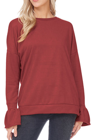 Bell Sleeve Sweatshirt Top