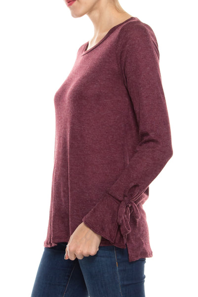 Knit Scoop  Neck Top with Tied Sleeves
