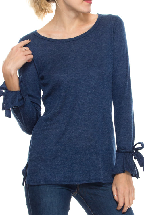 Scoop Neck Top with Tie Sleeves