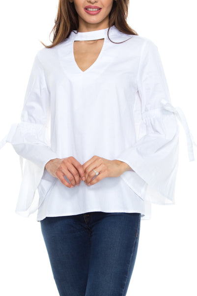 Mock Neck Bell Sleeve Blouse with Sleeve Ties