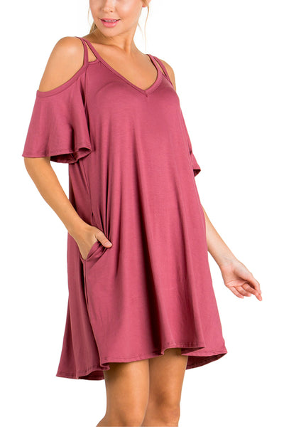 V Neck Cold Shoulder Strappy Dress