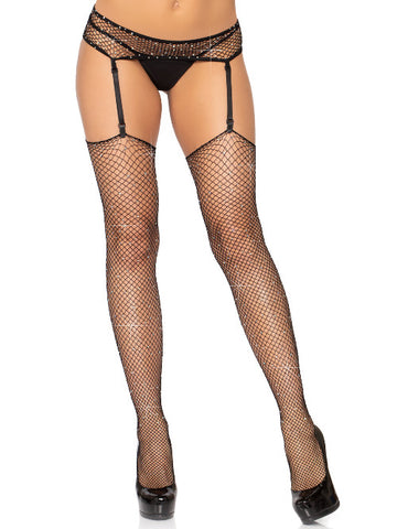 2 PC Industrial Net Rhinestone Stockings With Matching Garter Belt - worldclasscostumes