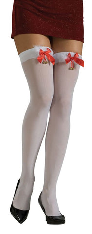 Women's White Thigh Highs with Marabou - worldclasscostumes