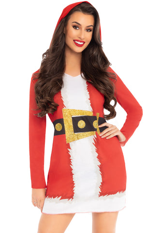 Santa hooded long sleeve t-shirt dress.