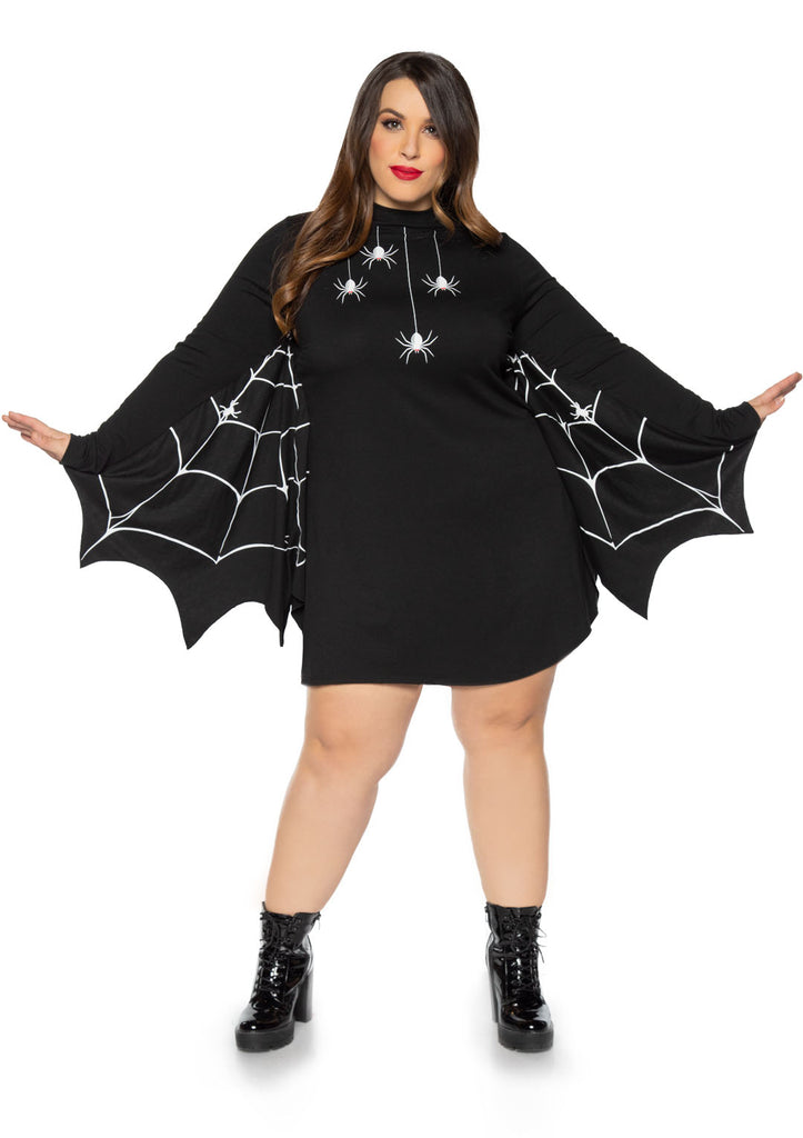 Jersey Spider Dress With Scalloped Web Wing Sleeve